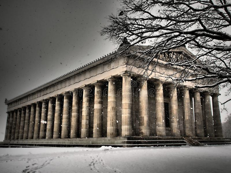 Monuments WALHALA - winter time-snowing. They say it is one of Germany`s most important national monuments of the 19th century. .Walhalla is an amazing memorial stock photo