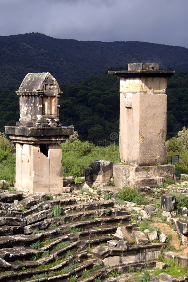 Monuments in Xanthos. Monuments and rowsof seats in Xanthos in West Turkey royalty free stock photos