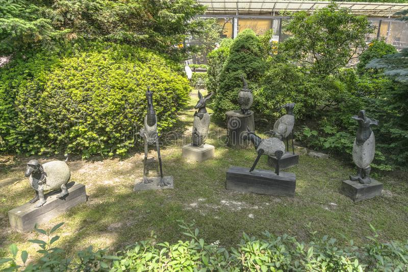 Monuments in zoo. Animals monuments in in the zoo garden in Krakow . Poland , Europe royalty free stock photos