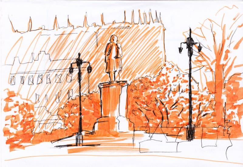 Monumentstand mit Laternen im Park Straßenansichtpostkarte Markierungen und Zwischenlagentechniken Grafische Illustration Hand ge stock abbildung