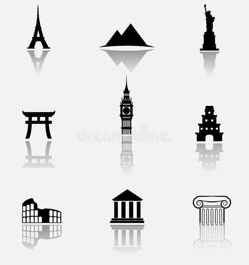 Monumentsymbolsuppsättning stock illustrationer