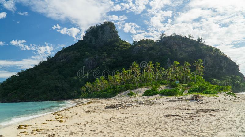 The Monuriki island, place where Castaway movie was filmed, Fiji. A little to this beautiful tropical island Monuriki in Fiji country. The island where Castaway royalty free stock photos