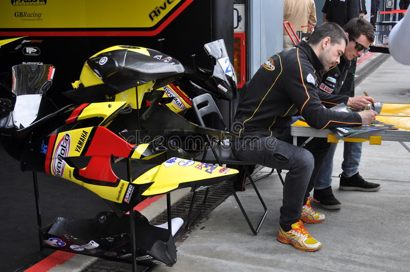 Monza 2012 - Rivamoto que compete a equipe (Supersport) imagens de stock royalty free