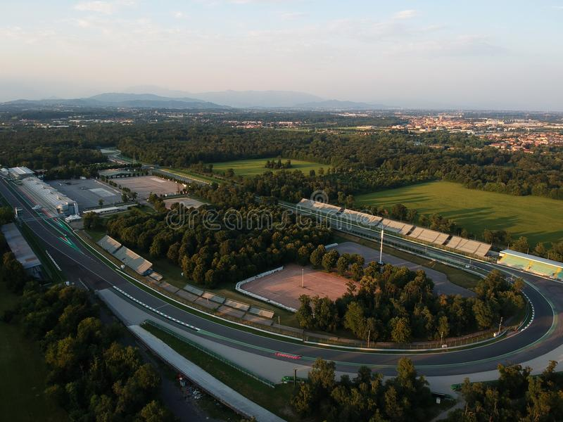 Monza circuit aerial view shot from drone on sunset royalty free stock photo