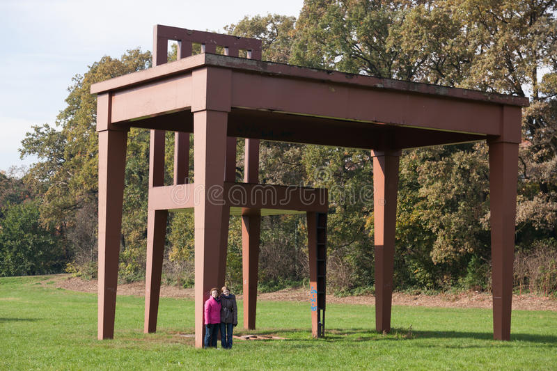 MONZA, ITALY/EUROPE - OCTOBER 30 : Huge table and chair in Parco di Monza Italy on October 30, 2010. Unidentified people. stock images