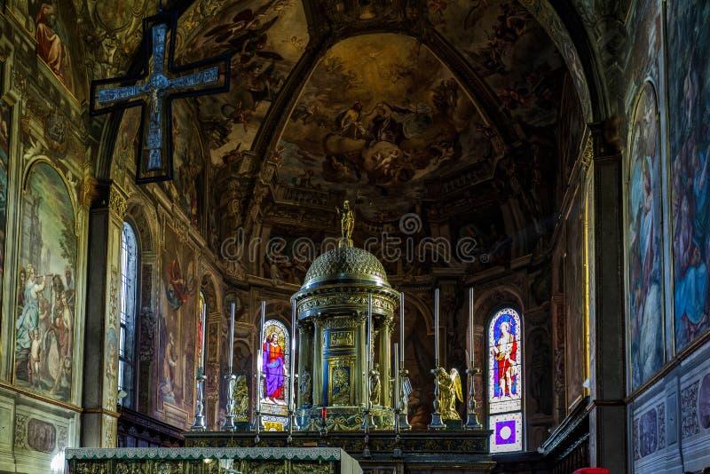 MONZA, ITALY/EUROPE - PAŹDZIERNIK 28: Wewnętrzny widok Cathedra zdjęcia stock