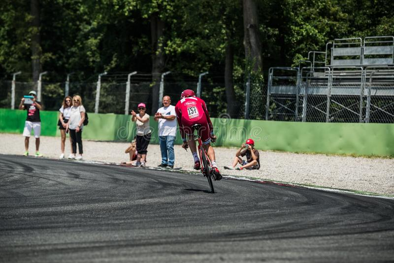 Monza, Italy May 28, 2017: Professional cyclist, Katusha Team, during the last time trial stage of the Tour of Italy 2017. With a lap of the Formula 1 circuit stock image