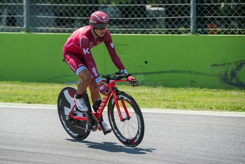 Monza, Italy May 28, 2017: Professional cyclist, Katusha Team, during the last time trial stage of the Tour of Italy 2017. With a lap of the Formula 1 circuit royalty free stock photo