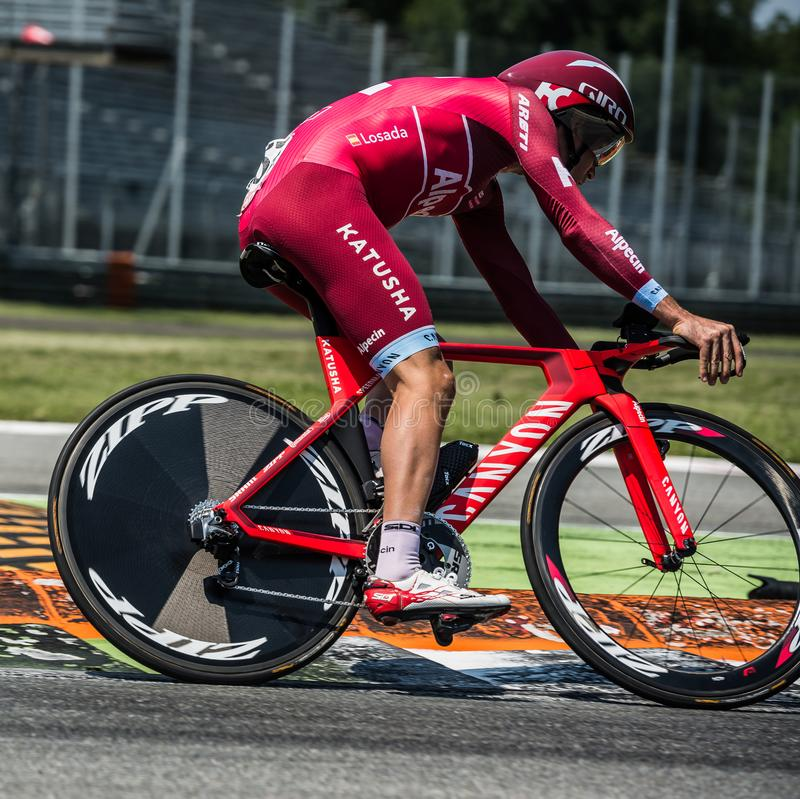 Monza, Italy May 28, 2017: Professional cyclist, Katusha Team, during the last time trial stage of the Tour of Italy 2017. With a lap of the Formula 1 circuit stock photo