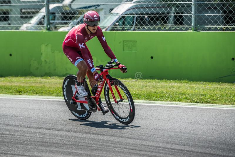 Monza, Italy May 28, 2017: Professional cyclist, Katusha Team, during the last time trial stage of the Tour of Italy 2017. With a lap of the Formula 1 circuit stock images