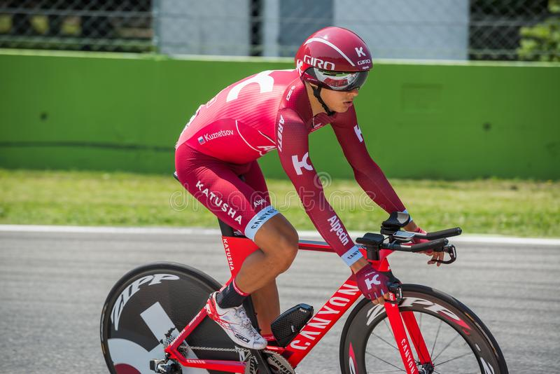 Monza, Italy May 28, 2017: Professional cyclist, Katusha Team, during the last time trial stage of the Tour of Italy 2017. With a lap of the Formula 1 circuit stock photos