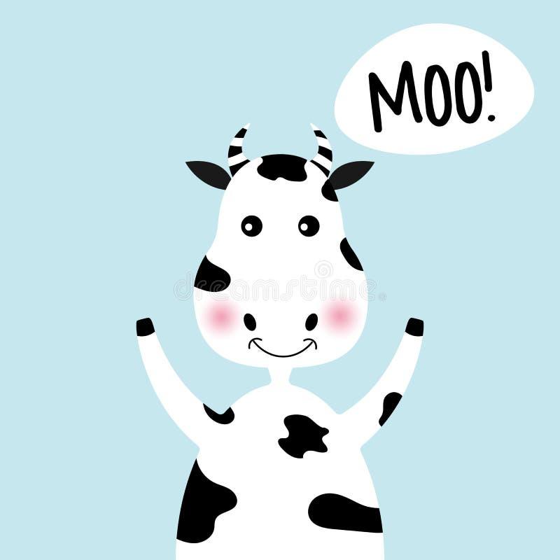 MOO mignon de fille et d'inscription de vache à bande dessinée illustration de vecteur