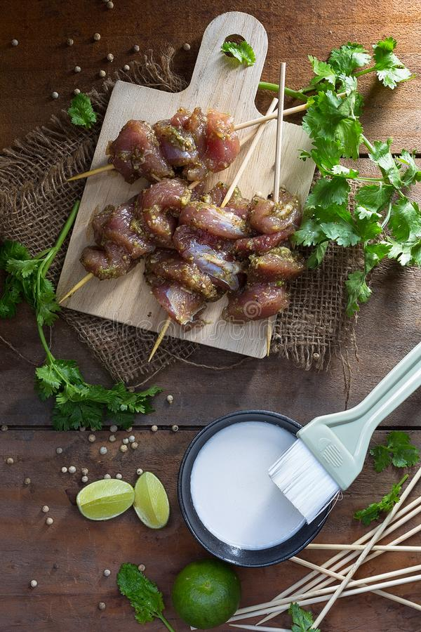Moo ping, delicious thai porc bbq stock images