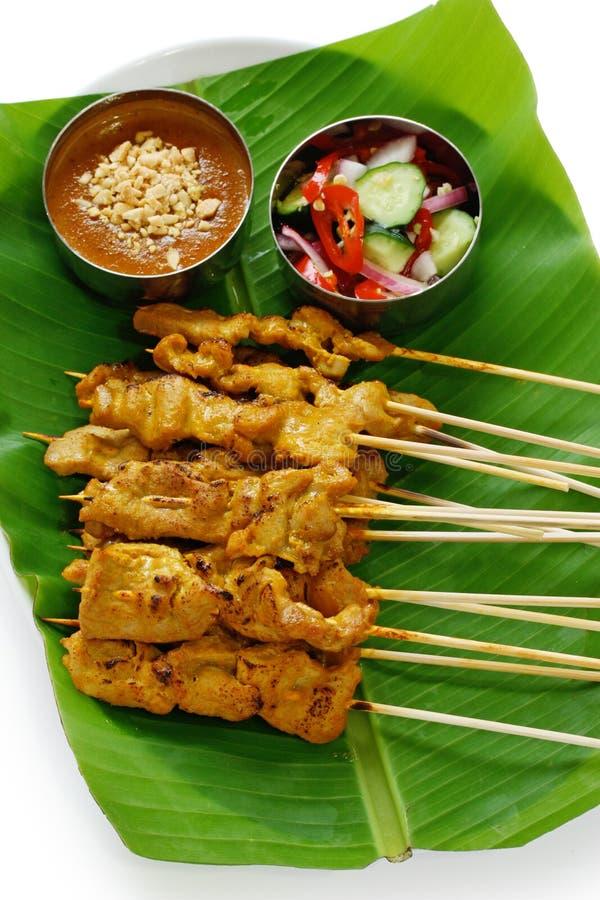 MOO satay, porc satay, cuisine thaïe photographie stock libre de droits