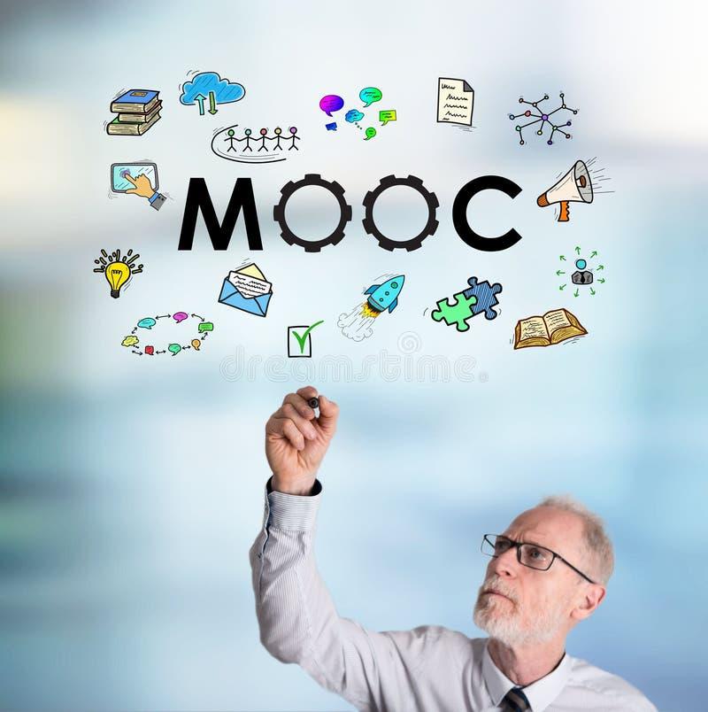 Businessman drawing mooc concept stock photos