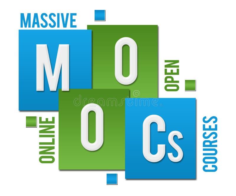 MOOCs - texto azulverde de los cuadrados de los cursos en línea abiertos masivos libre illustration