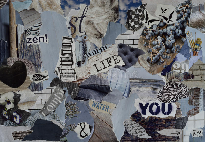 Mood board ,collage atmosphere sheet with natural elements with ice blue, white, black and gray, and blue with hearts , butterfli. Es, flowers and books royalty free stock photography