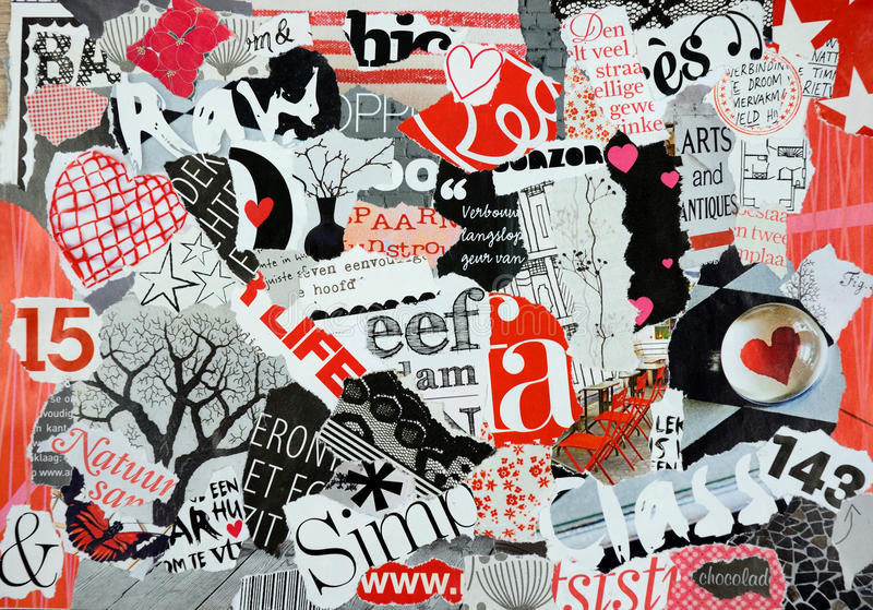 Mood Board Of Pieces Magazines In Red White And Black Stock Image ...