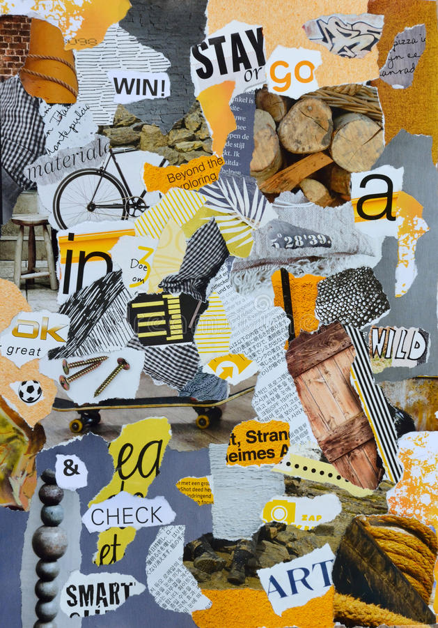 Mood board with yellow grey colors for a man boy. Mood board with yellow and grey colors for a boy or a man royalty free stock image