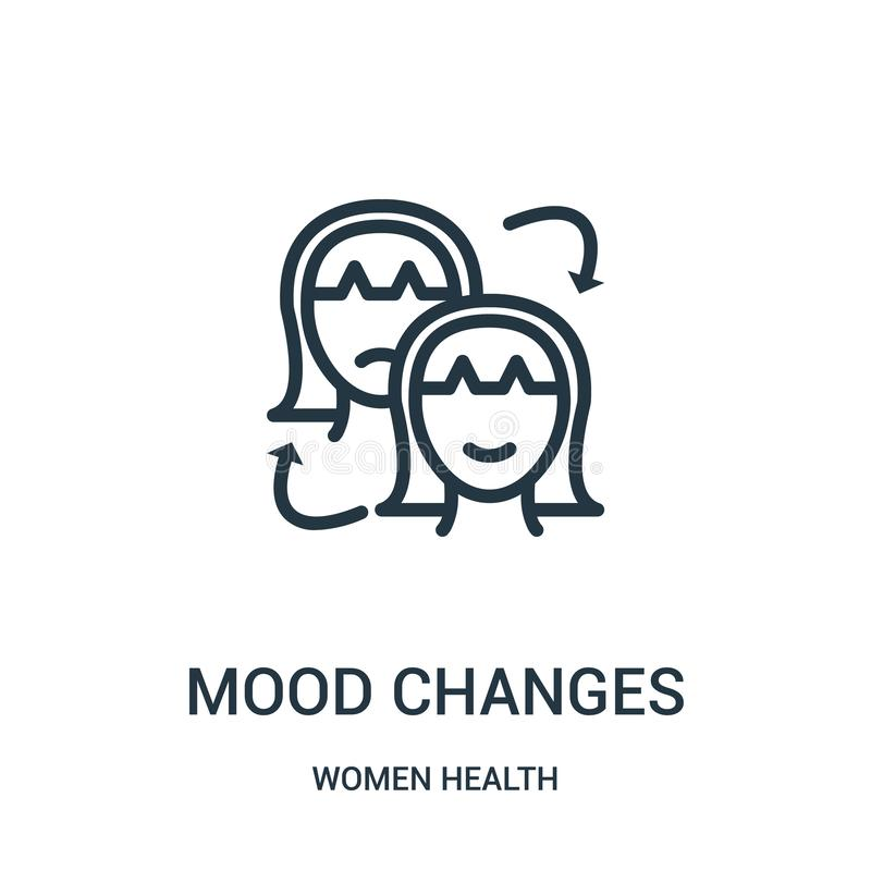 mood changes icon vector from women health collection. Thin line mood changes outline icon vector illustration royalty free illustration