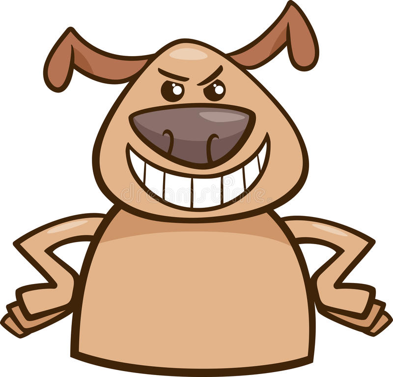 Mood cruel dog cartoon illustration. Cartoon Illustration of Funny Dog Expressing Cruel or Malicious Mood or Emotion stock illustration