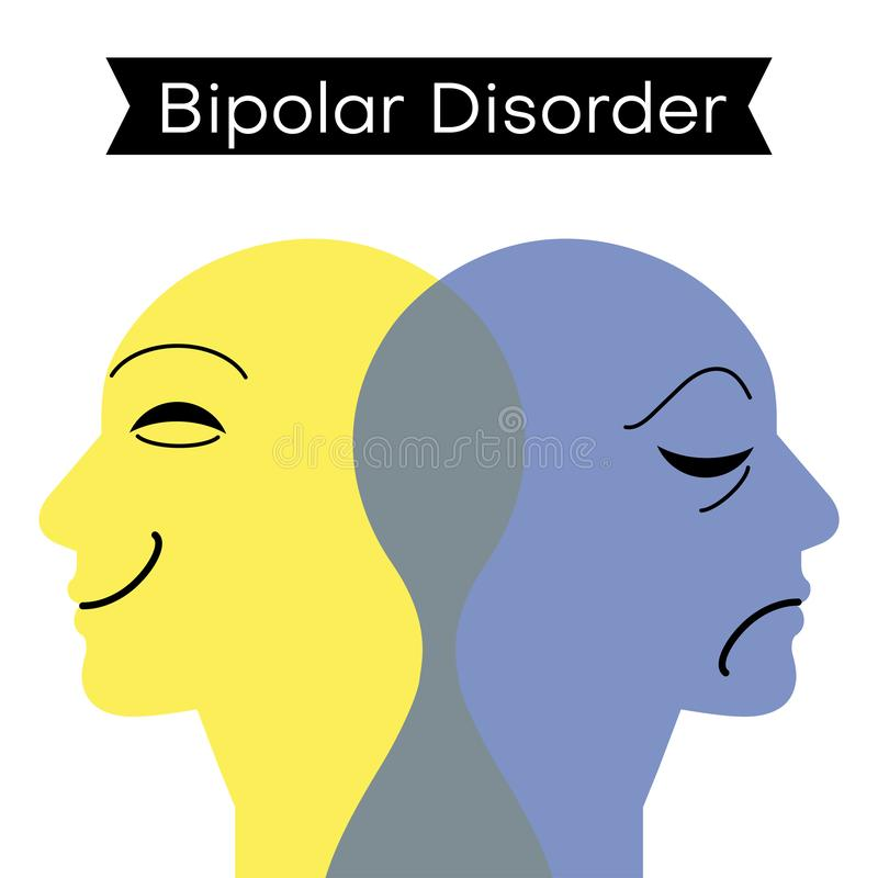 Mood disorder. Split personality. Bipolar disorder mind mental. Dual personality concept. Vector illustration royalty free illustration