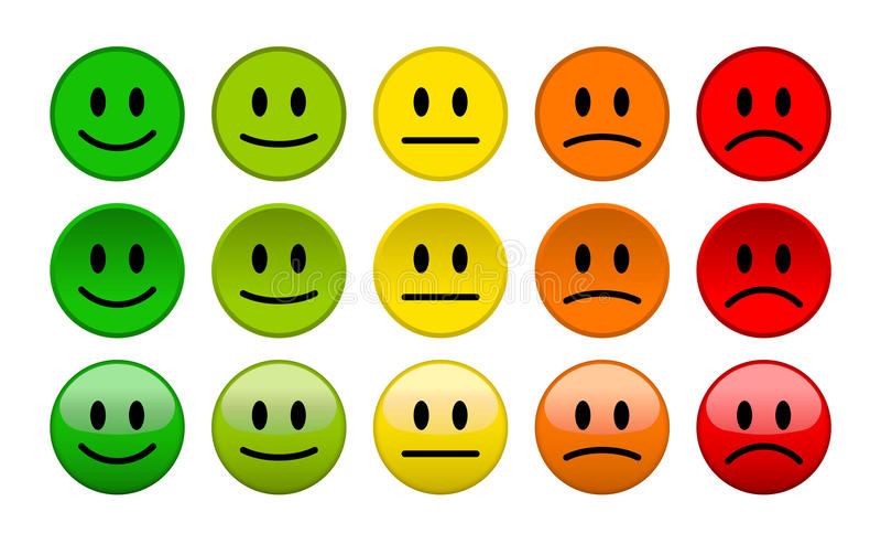 Mood level smile icons on white background. Mood level smile icons on white isolated background stock illustration