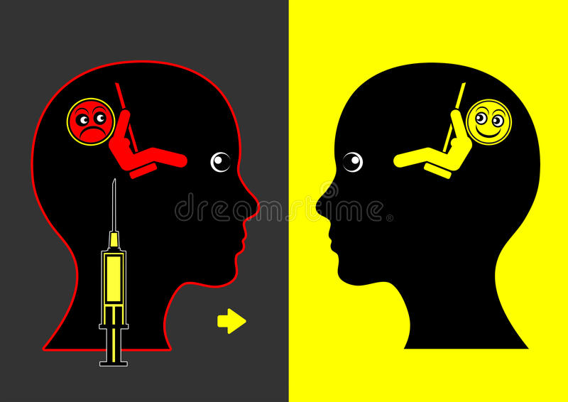 Mood Lifting Drugs. Concept sign of mood enhancing medication against depression and anxiety disorder royalty free illustration
