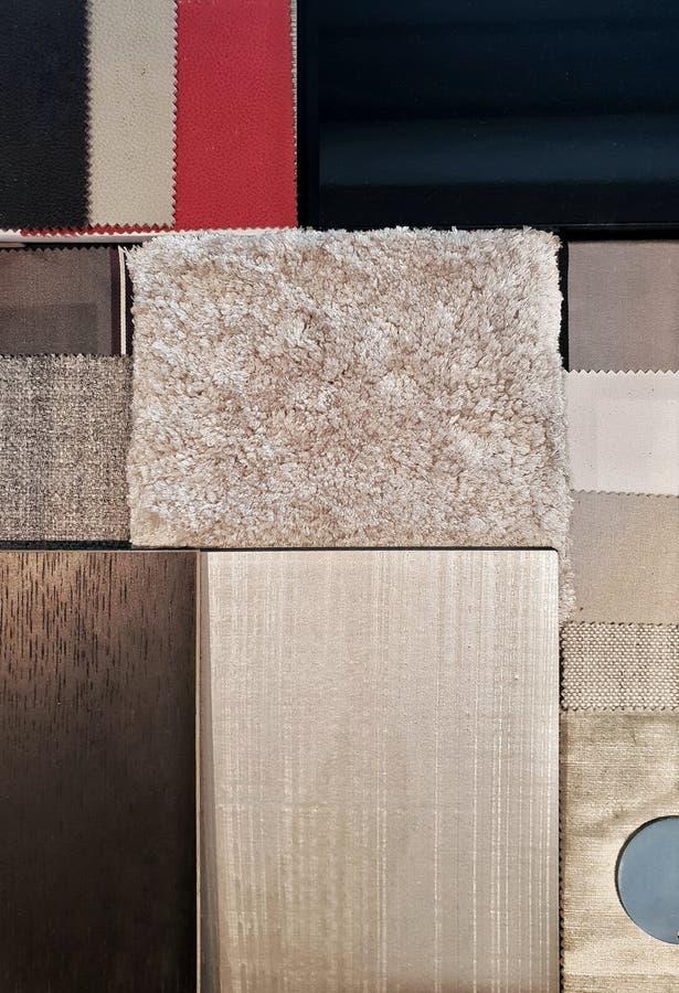 Moodboard materiale interno misto fotografia stock
