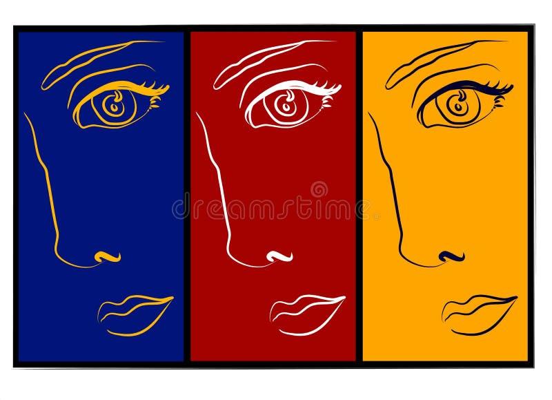 Moodswings - collage de 3 caras stock de ilustración