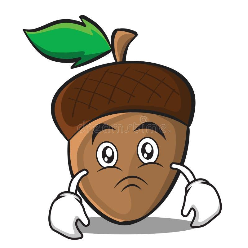 Moody acorn cartoon character style. Vector illustration stock illustration