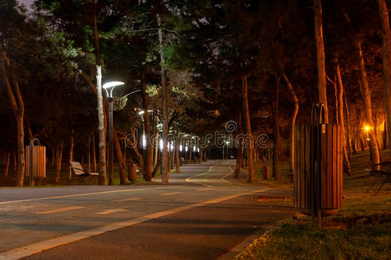 Moody bike path in a city park, at night, illuminated by the park`s light poles. Alexandru Ioan Cuza park also known as IOR. stock photography