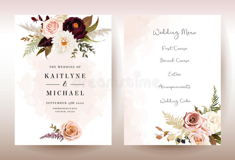 Moody boho chic wedding vector bouquet cards. Warm fall and winter tones. Orange red, taupe, burgundy, brown, cream, gold, beige, sepia autumn colors. Rose vector illustration