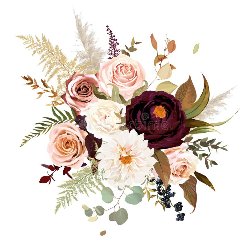 Moody boho chic wedding vector bouquet. Warm fall and winter tones. Orange red, taupe, burgundy, brown, cream, gold, beige, sepia autumn colors. Rose flowers royalty free illustration