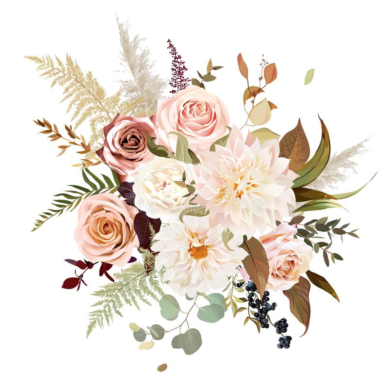 Moody boho chic wedding vector bouquet. Warm fall and winter tones. Orange red, taupe, ivory, brown, cream, gold, beige, sepia autumn colors. Rose flowers stock illustration