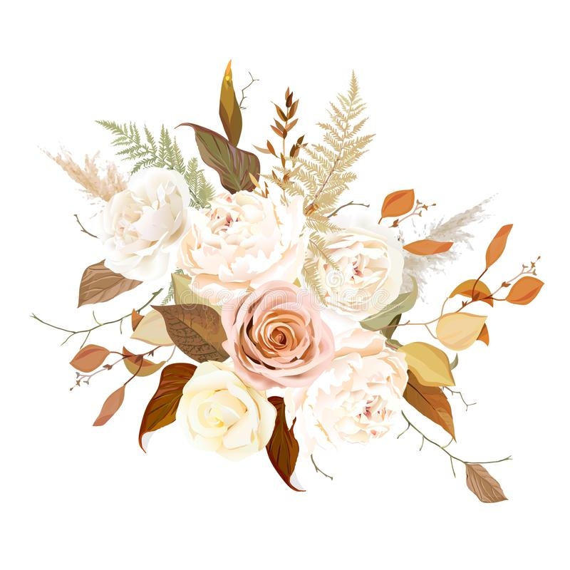 Moody boho chic wedding vector bouquet. Warm fall and winter tones. Orange red, taupe, ivory, brown, cream, gold, beige, sepia autumn colors. Rose flowers royalty free illustration