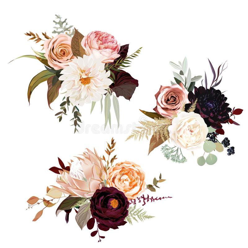 Moody boho chic wedding vector bouquets. Warm fall and winter tones. Orange red, taupe, burgundy, brown, cream, gold, beige, sepia autumn colors. Rose flowers royalty free illustration