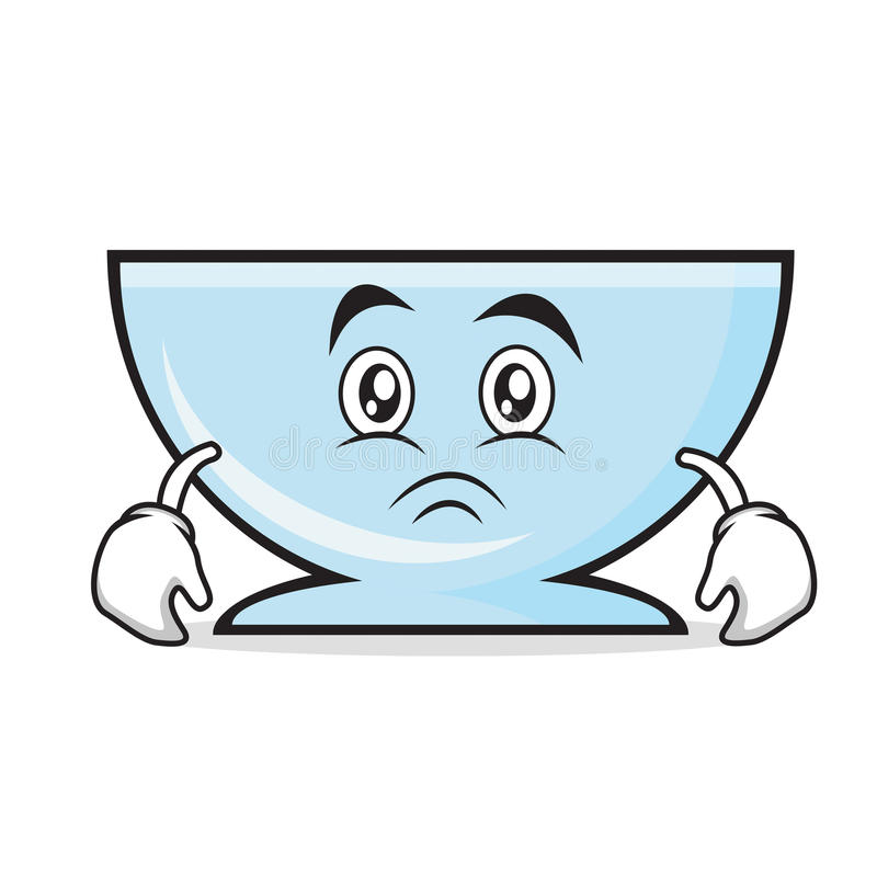Moody bowl character cartoon style. Vector illustration royalty free illustration