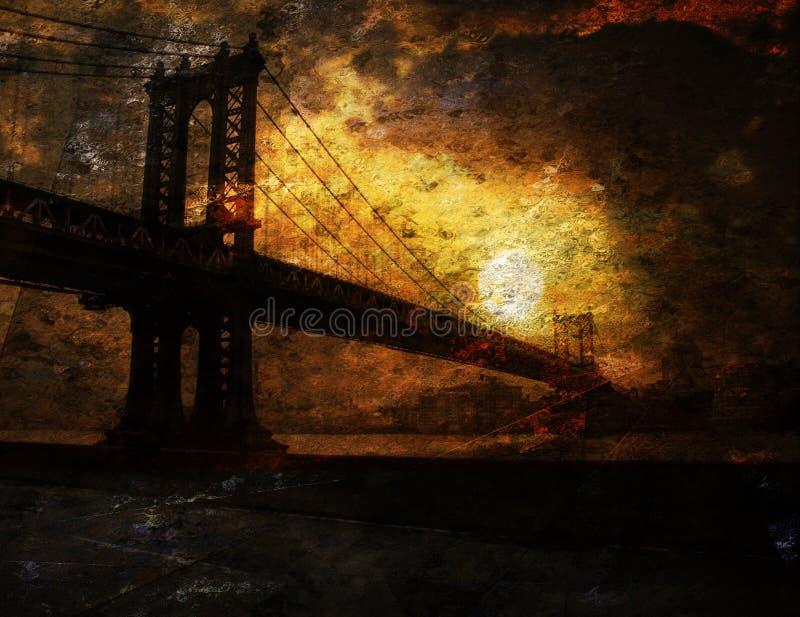 Moody Bridge. And Sunrise Painting vector illustration