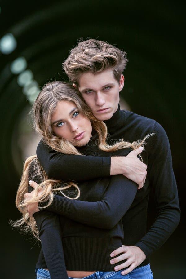 Moody fashion couple royalty free stock photos