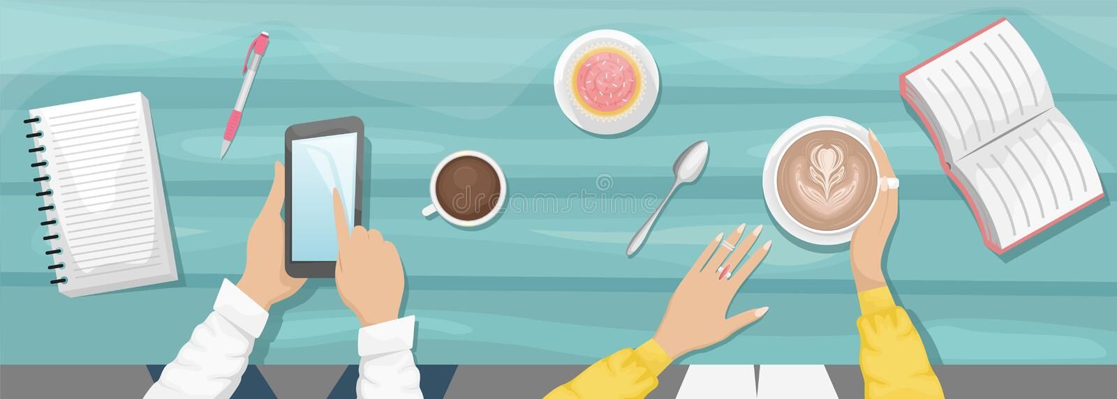 Moody flat lay background with workplace in a cafe. Women`s hands holding a Cup of cappuccino and eat cupcake. Light blue wooden. Background with book, notebook royalty free illustration