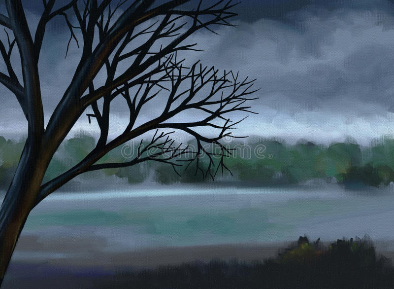 Moody Gray Sky - Digital Painting. Digital painting of a dead tree and lake under a moody gray sky stock illustration