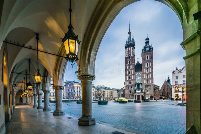 Moody Krakow market square, Poland, Europe. Beautiful Krakow market square, Poland, Europe. Faded colors stock images