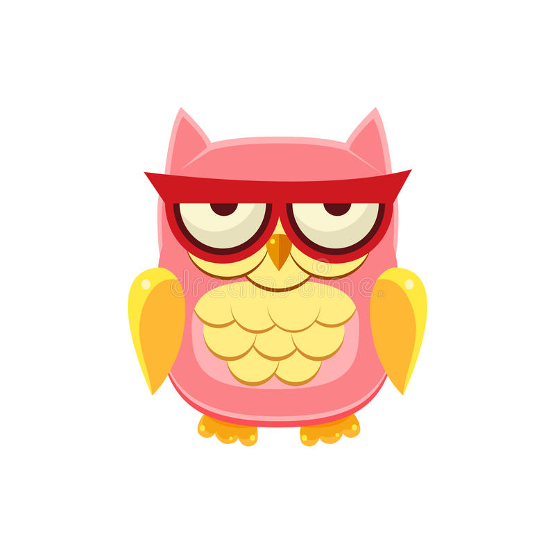 Moody Pink Owl. Adorable Emoji Flat Vector Caroon Style Isolated Icon stock illustration