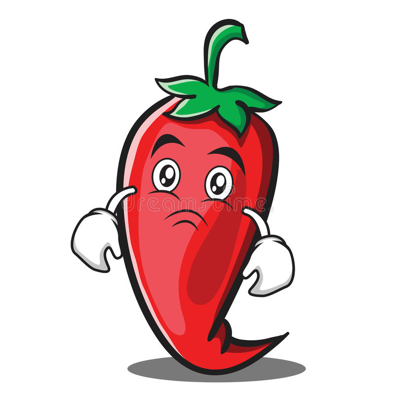 Moody red chili character cartoon. Vector illustration royalty free illustration
