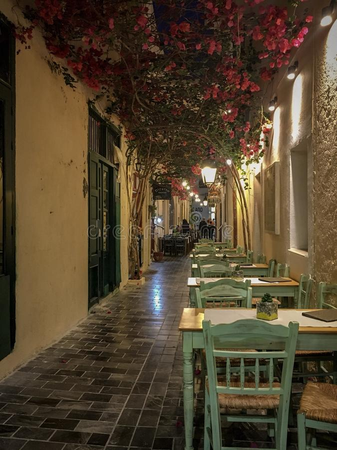 Rethymno old town alley way. Moody Rethymno alley way royalty free stock photography