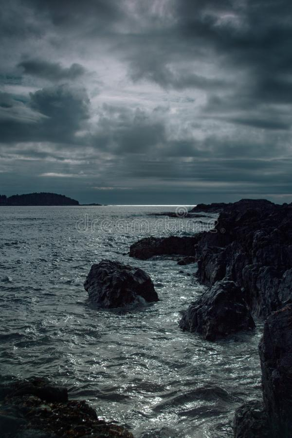 Moody Sea scape at sunset royalty free stock image