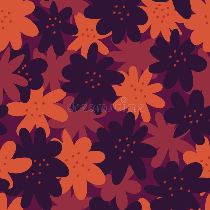Moody seamless vector pattern with dark flower shapes. A moody seamless vector pattern with dark flower shapes in navy purple and pink royalty free illustration
