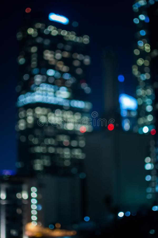 Downtown LA buildings set in a bokeh setting. Moody shot of downtown LA building in a bokeh setting royalty free stock images
