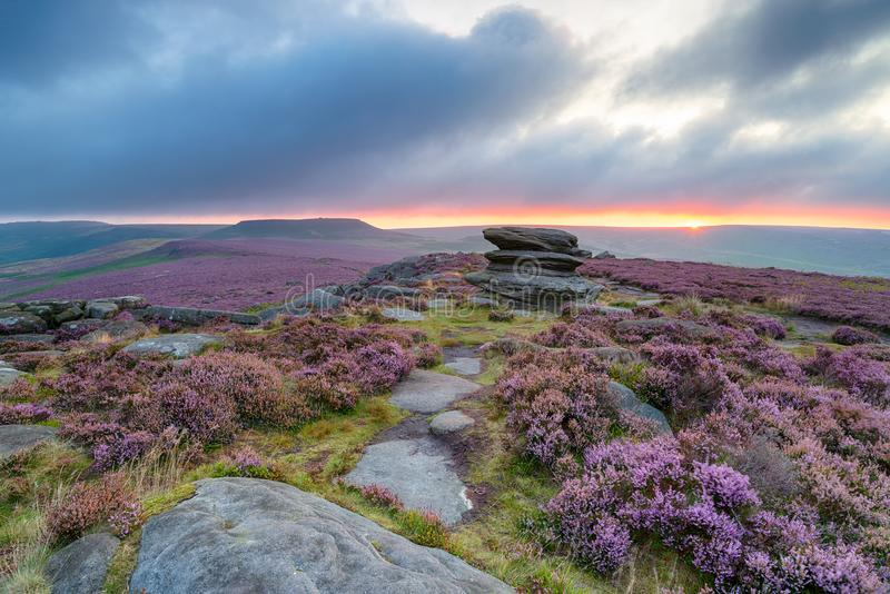 Summer Sunrise in the Peak District stock images
